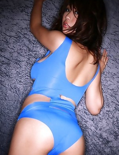 Mai Nishida has big jugs and firm butt in blue lingerie
