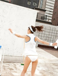 Kana Yuuki takes tennis skirt off while playing with ball