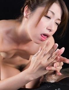 Tsubaki Katou Jerks Off Cock with Cum