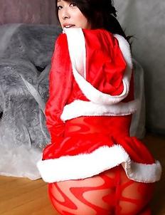 Yuma Ueda Japan is Santa hot girl in crotchless red pantyhose