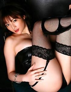 Yuuri Morishita with sexy legs has generous jugs in latex corset