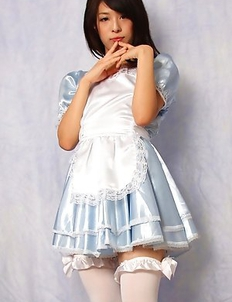Yuma Ueda in long socks and heels shows crack in scanty