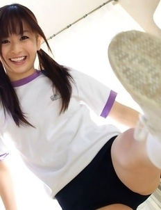 Hikari Yamaguchi in shorts loves to play all over the house