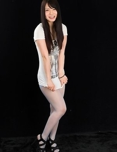 Dark-haired JAV goddess Sana Iori flaunting her pantyhose-clad legs in HQ