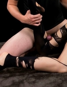 """Bound brunette in pantyhose Yuu Kazuki gets """"banged"""" by a very thick dick"""
