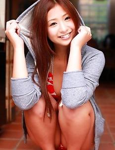 Ayaka Sayama plays and shows big tits and appetizing butt