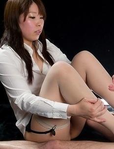 Pantyhose beauty Ruru Sakurai teasing a guy's dick with her immaculate toes
