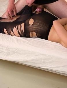 Black pantyhose seductress Uta Kohaku getting punished by a kinky Japanese dude