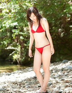 Mikako Horikawa with hot body in red lingerie plays outdoor