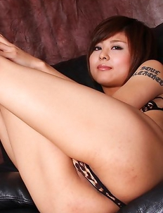 Miho Kotosaki in animal print lingerie shows her hot curves