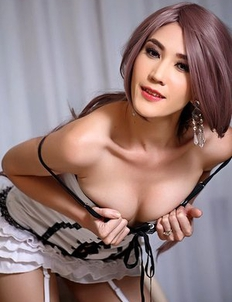 Asian slender Areeya Oki in stockings