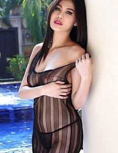 Hot brunette Natalie Wang in black lingerie
