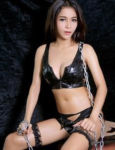 Asian Model Fatin posing in latex lingerie