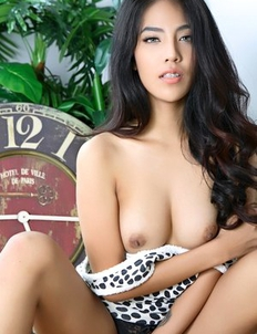 Brunette Asian slender Arya undressed her panties