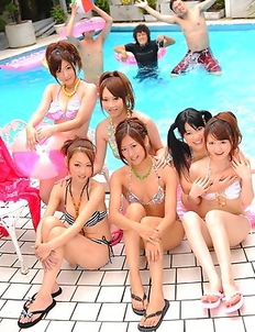 Freaky Japanese babes by the pool