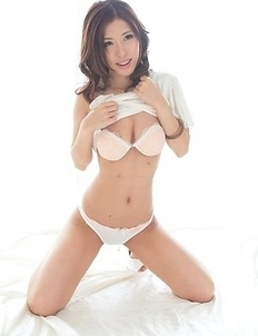 Hottie in white Rin Miura shows off her beautiful legs and hairy pussy a lot