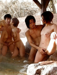Group sex session in hot springs