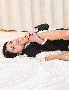 Hotsuki and Ryo Makoto star in a great foot worship/toe sucking scene with close-ups