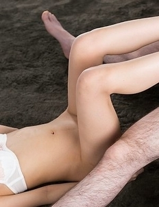 Rio Kamimoto uses her perfect feet to get this dude to cum all over her