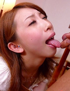 Yui Saejima sucks a huge meat pole