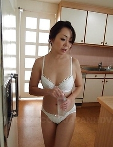 Hot Yuna Yamami in white lingerie sucks cock