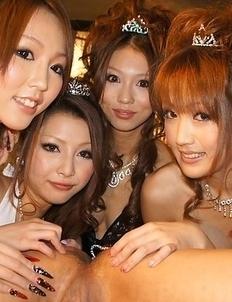 Saki, Yuki, Shiho, Karin, suck and ride cocks