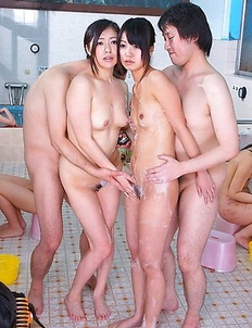 Hot Jun and Kotomi with two guys