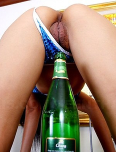 Kinky Beer bends for a hard cock