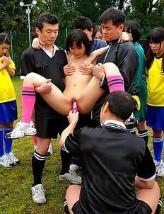 Japanese soccer girl gets two guys