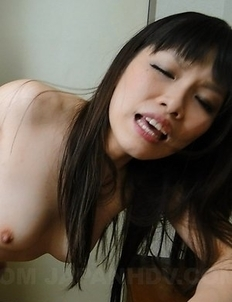 Hot Asuka has hairy pussy fucked with fingers