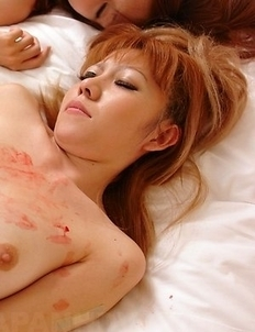 Boob Quizz and Yuri Rie get dirty after doggy