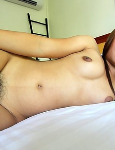 Soft and hairy Thai amateur stripped down