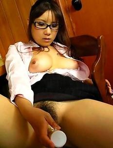 Busty Momo Aizawa gets twat dildoed