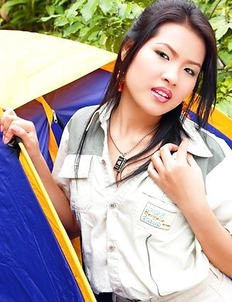 Aime Copony sets up her tent and she is getting very horny