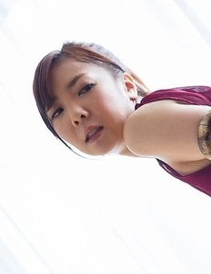 Small-breasted babe Mio Yoshida jerks a fat cock with her sexy feet