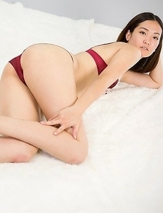 Stockings-wearing babe Madoka Yukishiro teasing you with her perfect fucking pussy